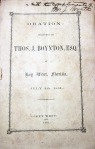 Oration by Thos. J. Boynton, Esq., at Key West, FL