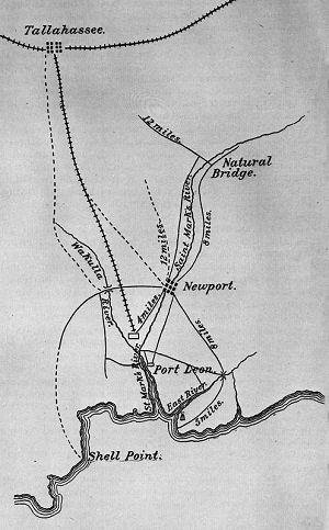 Map of Natural Bridge from the Official Records of the War of the Rebellion. (State Archives of Florida, Florida Memory, http://floridamemory.com/items/show/143922)