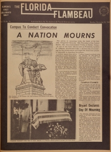 Front page of the Florida Flambeau, November 25, 1963