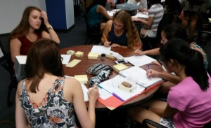 Students work with Special Collections materials during a class taught by Bill Modrow.