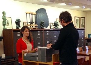 One of our staff talks through what needs to be digitized for a patron.