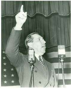 Claude Pepper speaking before a Committee to Defend America by Aiding the Allies rally ca. 1940