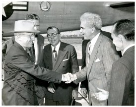 President Truman arriving in Florida for the dedication of Hendricks Field being greeted by Senator Spessard Holland, Senator Claude Pepper, and Governor Millard Caldwell