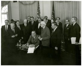 President Lyndon Johnson at the 1964 certification of the 24th Amendment, which had been sponsored by Spessard Holland