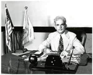 Newly appointed Senator Spessard Holland working at his desk in Florida