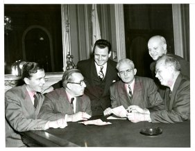 Senator Spessard Holland meeting with Senator Claude Pepper and Florida Democratic Representatives to discuss VA Hospitals (1949)