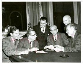 Senator Spessard Holland meeting with Senator Claude Pepper and Florida Democratic Representatives to discuss VA Hospitals (1949)