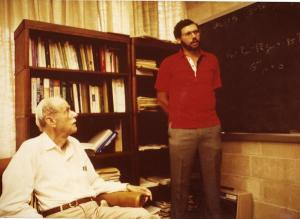 Paul Dirac is pictured in his office with his last graduate student, Bruce Hellman.