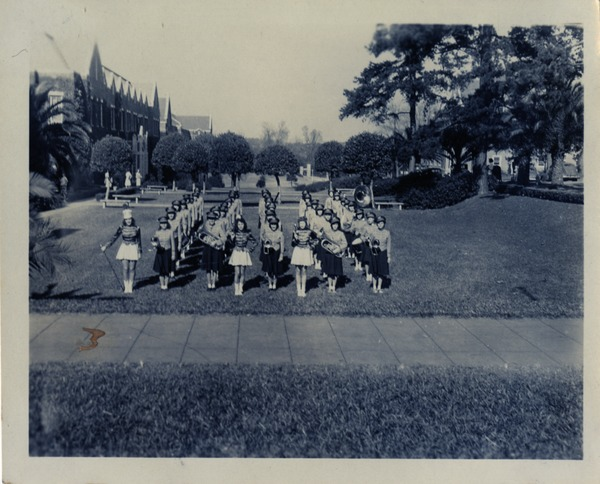 FSCW Marching Band next to Bryan Hall