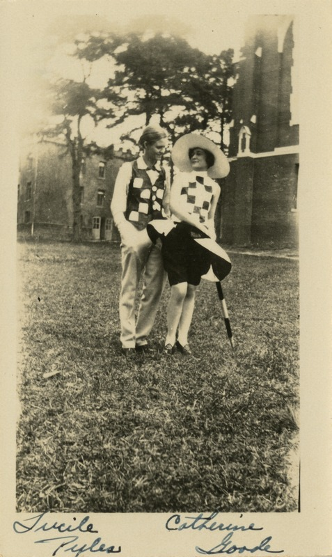 Lucile Pyles and Catherine Goode in Costume (Mary Cobb Nelson Scrapbook, 1923-1928)