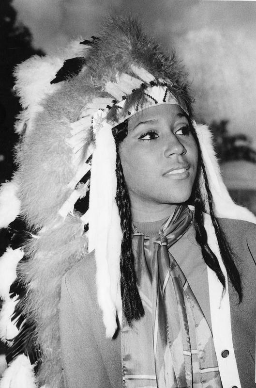 Florida State University's 1970 homecoming Queen Doby Lee Flowers poses in the traditional headdress. On November 13, 1970, she became the first black Homecoming Queen in the history of FSU. She was a social welfare student and was sponsored by the Black Student Union.