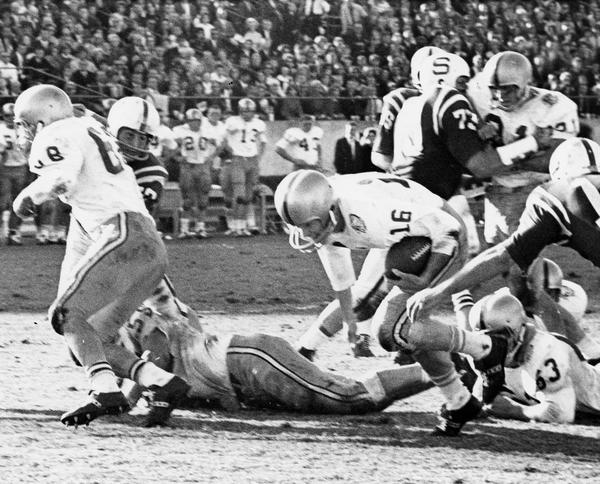 Florida State QB Ed Pritchett of Decatur, Ga., scores FSU's second and final touchdown during the game against North Carolina State. This marked FSU's first homecoming win since 1958.