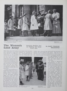 "Page from the article ""The Women's Land Army,"" in The Girl's Own Annual, vol. 39, issue 9"