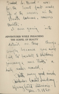 Last Page from letter to Mrs. Stephen Graham from Vachel Lindsay.