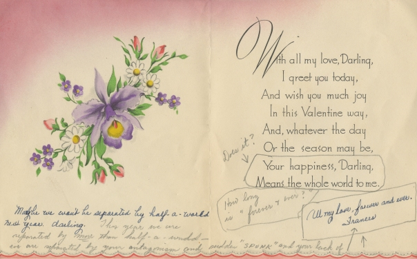 Inside of Valentine's Day Card, 1947