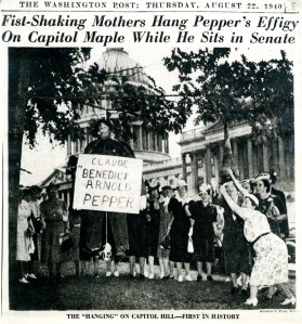 Pepper hung in effigy, August 22, 1940. Image courtesy of the Washington Post.