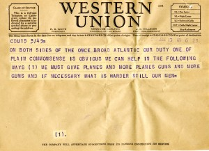 Telegram from Pepper to the US Senate urging aid to the Allies. Claude Pepper Papers, Series 431A.