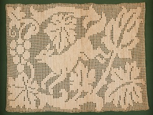 "A Seychelles Crochet, ""The Fox and the Grapes,"" ca. 18th C. Gift of Jacqueline Dupont, PhD 1962 FSU, to the Shaw Collection, March 2015."
