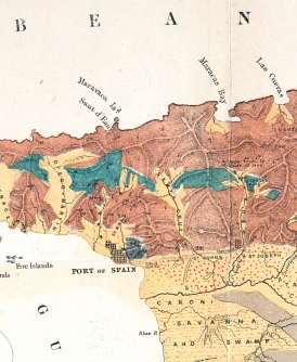 Closeup of Trinidad map