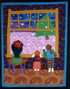 """Snow!""  A fabric picture designed and appliqued by your granddaughter Meg Prange in 2008. illustrating  your poem ""Headlights Shine."""