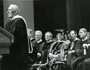 Claude Pepper speaking upon receiving an honorary degree from FSU (May 15, 1985)