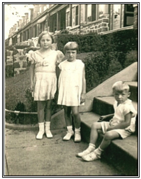 Connie, me and Bruce at Gramma's house on Samson Street in Philadelphia, 1933