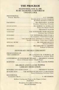 Program for the dedication of the Pepper Library and Honorary Degree Ceremony (1985)