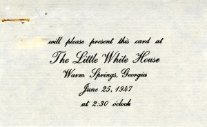 Little White House dedication event ticket.