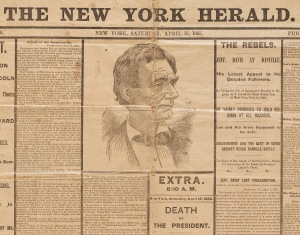 Rare and fragile New York Herald newspaper detailing President Lincoln's assassination, April 15, 1865.