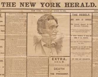 New York Herald newspaper from the day of President Lincoln's assassination.