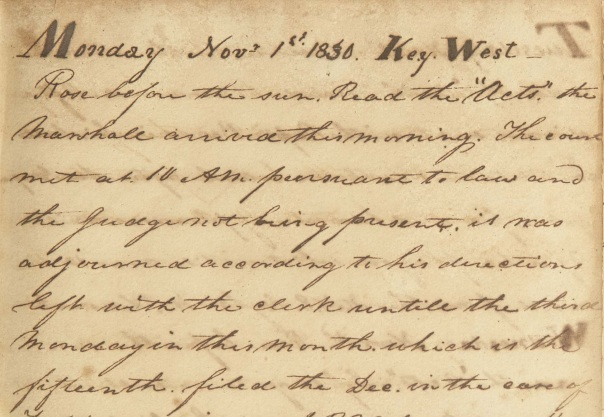 Manuscript Diary of William R. Hackley, 1830 Found in 01/MSS 0-128