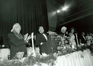 Bob Hope speaking at Claude Pepper's 84th Birthday. Tip O'Neill can be seen to the right.