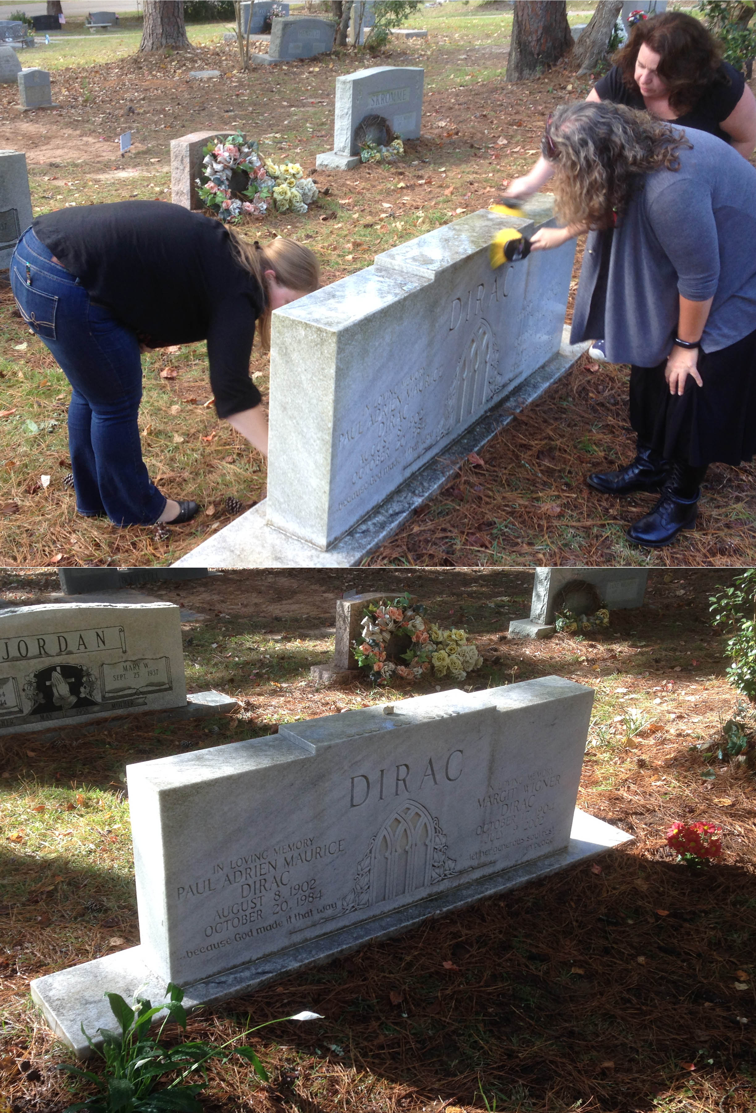 Top: Krystal Thomas, Katie McCormick, and Susan Contente remove grime from the Dirac headstone. Below: A clean headstone with fresh flowers planted on either side.