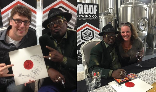 Rory Grennan and Katie McCormick enjoy photo opportunities with songwriter and producer George Clinton.