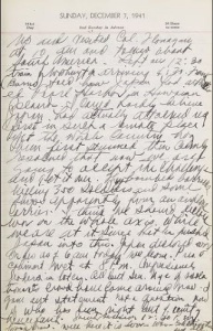 A page from Senator Pepper's diary, dated December 7, 1941.