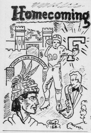 Homecoming Illustration, Florida Flambeau, 1948