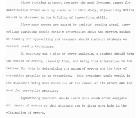 From An Analysis of Typewriting Errors Made by Students in a Second-Year Typewriting Class at Leon High School, Tallahassee, Florida, Patricia M. Barrineau, 1954.