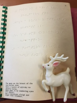 "The Braille edition of ""'Twas the Night"" includes a figurine of a deer instead of an illustration."