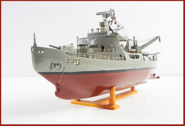 Model ship customized to resemble the USS Atka, which served in Antarctica during the IGY. From the Robert E. Hancock Antarctic Collection.