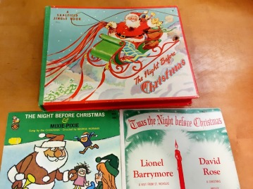Audio recordings and a book with jingle bells
