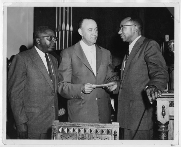 Virgil Hawkins, J. Raymond Henderson, and C.K. Steele, circa 1955. From 00/MSS 2006-013.