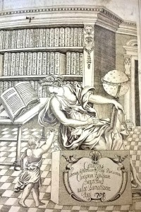 This frontispiece from a 1703 library catalog shows a classical figure engaged in cataloging a collection. In real life, cataloging has fewer cherubs and more computer screens.