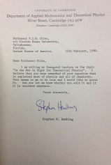 Letter from Stephen Hawking to Paul A M  Dirac
