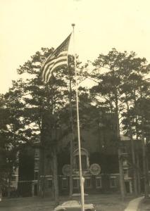 American Flag Behind Westcott Building, ca. 1940-1944