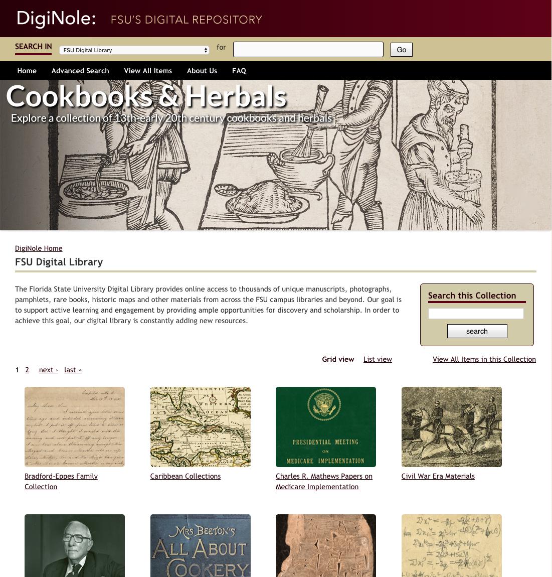 Screenshot of the FSU Digital Library
