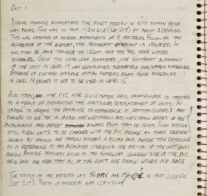 Detail from Field Notebook at Windover, 1985