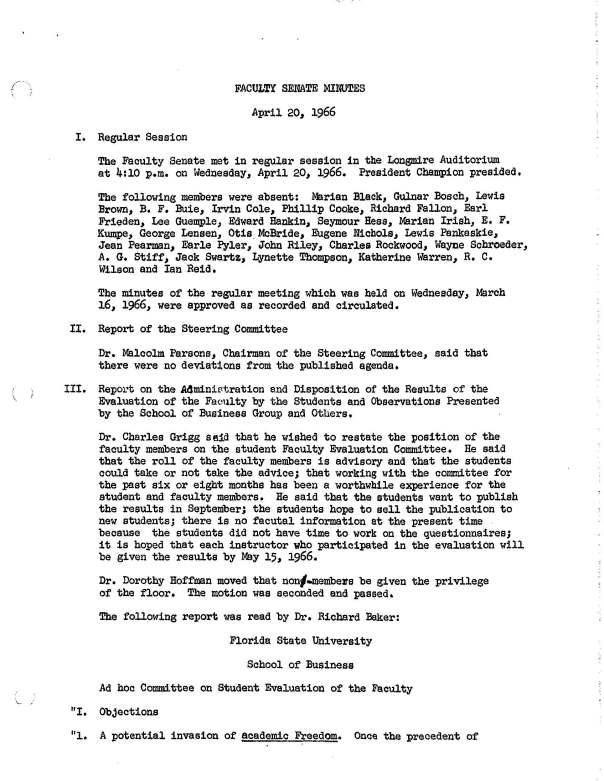 Page from April 20, 1966 Faculty Senate Minutes