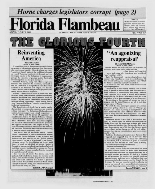 Front Page of the Florida Flambeau, July 2, 1984
