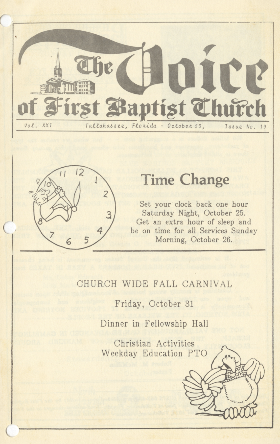 Page from The Voice of the First Baptist Church Volume 21. Number 19, October 23rd, 1986