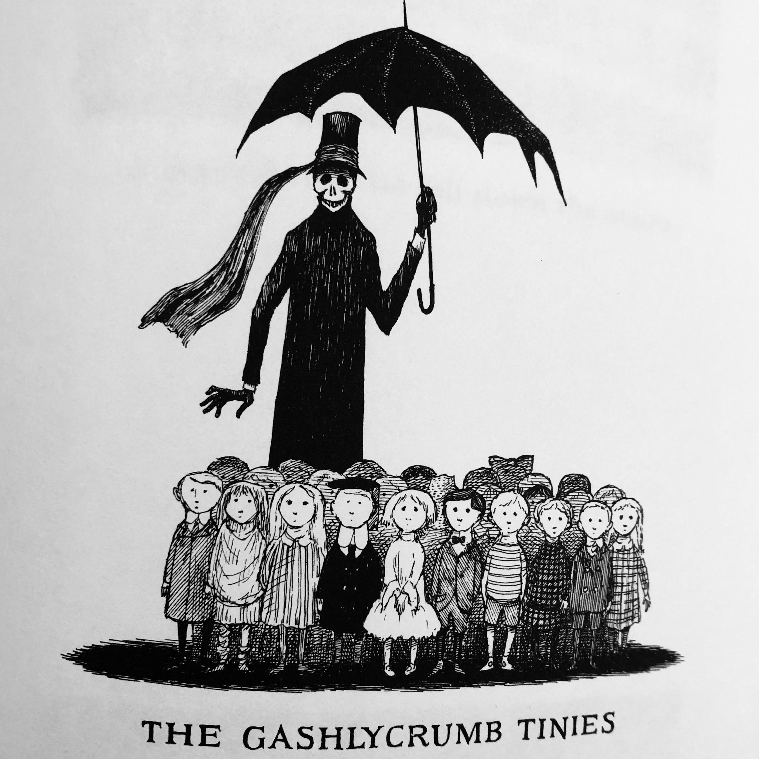 Black and white illustration of a group of children in the shadow of a tall, skeletal man titled The Gashlycrumb Tinies.
